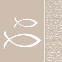 Servietten 33x33 cm - Glaube Fisch Perle Perle Taupe