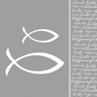 Servietten 33x33 cm - Glaube Fisch Silver