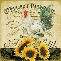 Servietten 33x33 cm - Rooster & Sunflowers
