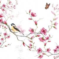 Servietten 33x33 cm - Bird & Blossom White
