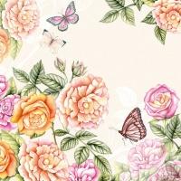 Servietten 33x33 cm - Botanical Garden Cream