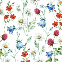 Servietten 33x33 cm - Mixed Wild Flowers White