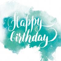 Servietten 33x33 cm - Birthday Aquarell Blue