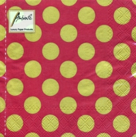 Servietten 33x33 cm - Big Dots Rot/Gold