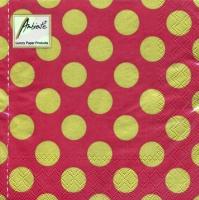 Servietten 33x33 cm - Big Dots Red/Gold