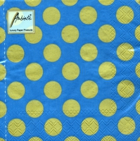 Servietten 33x33 cm - Big Dots Benzin/Gold