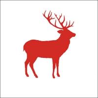 Servietten 33x33 cm - Deer Contour Red