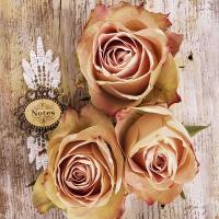 Servietten 33x33 cm - Roses On Wood