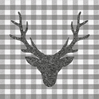 Servietten 33x33 cm - Stag Head Grey