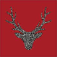 Servietten 33x33 cm - Hirschkopf Rot