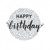 Servietten 33x33 cm - Birthday Dots Black