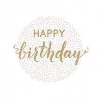 Servietten 33x33 cm - Birthday Dots Gold
