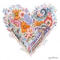 Servietten 33x33 cm - Spring Heart