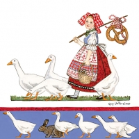 Servietten 33x33 cm - Girl With Geese
