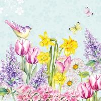 Servietten 33x33 cm - Blooming Garden Turquoise