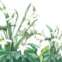 Servietten 33x33 cm - Snowdrops White