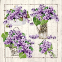 Servietten 33x33 cm - Purple Bouquets