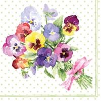 Servietten 33x33 cm - Bunch of Violets Green