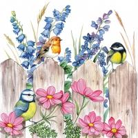 Servietten 33x33 cm - Birds on Fence