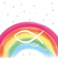 Servietten 33x33 cm - Regenbogen Weiß