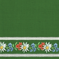 Servietten 33x33 cm - Bavarian Flowers Green