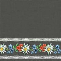 Servietten 33x33 cm - Bavarian Flowers Grey