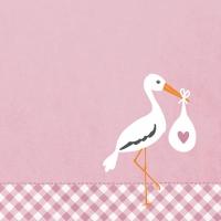 Servietten 33x33 cm - Love Stork pink