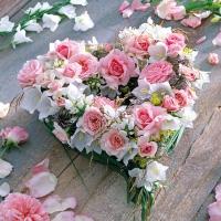Servietten 33x33 cm - Heart of Roses