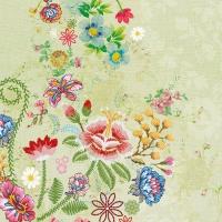 Servietten 33x33 cm - Stickerei Blumen Grün