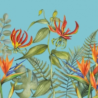 Servietten 33x33 cm - Tropical Flowers Petrol