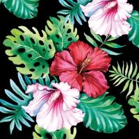 Servietten 33x33 cm - Hibiscus Floral Black