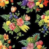 Servietten 33x33 cm - Blumen und Früchte Schwarz