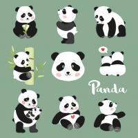 Servietten 33x33 cm - Pandabären