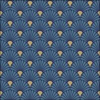 Servietten 33x33 cm - Art Deco Blue/Gold