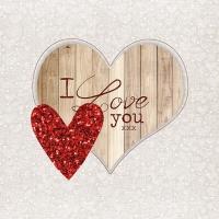 Servietten 33x33 cm - I Love You