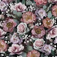 Servietten 33x33 cm - Vintage Flowers Black