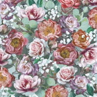 Servietten 33x33 cm - Vintage Flowers Green