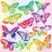 Servietten 33x33 cm - Aquarell Butterflies Mix