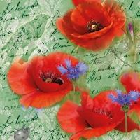Servietten 33x33 cm - Painted Poppies Green