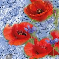 Servietten 33x33 cm - Painted Poppies Blue