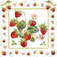 Servietten 33x33 cm - Fresh Strawberries