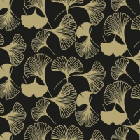 Servietten 33x33 cm - Gingko Black/Gold