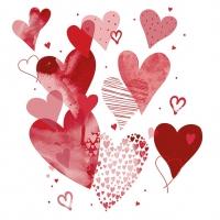 Servietten 33x33 cm - With Love Red