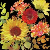 Servietten 33x33 cm - Sunny Flowers Black