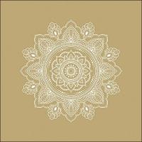 Servietten 33x33 cm - Mandala White/Gold