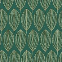 Servietten 33x33 cm - Oval Leaves Dark Mint/Gold