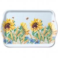 Tablett - Sonnenblume und Weizenblau