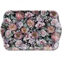 Tablett - Vintage Flowers Black