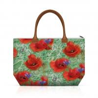 Handtasche - Painted Poppies Green