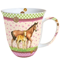 Porzellan-Henkelbecher Mug 0.4 L Signed Horses